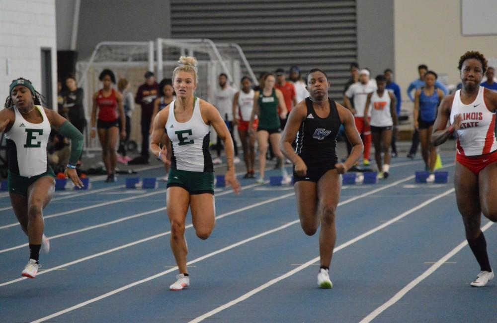 GVL/Hannah Zajac— Angelica Floyd does well in her 60 meter dash on Saturday 10 Feb 2017.
