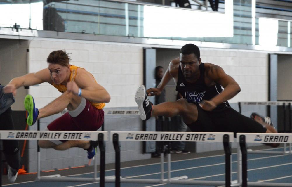 GVL/Hannah Zajac— Tyler Kirkwood, Sophmore, sprints through the hurdles to the finish line on Saturday 10 Feb 2017.