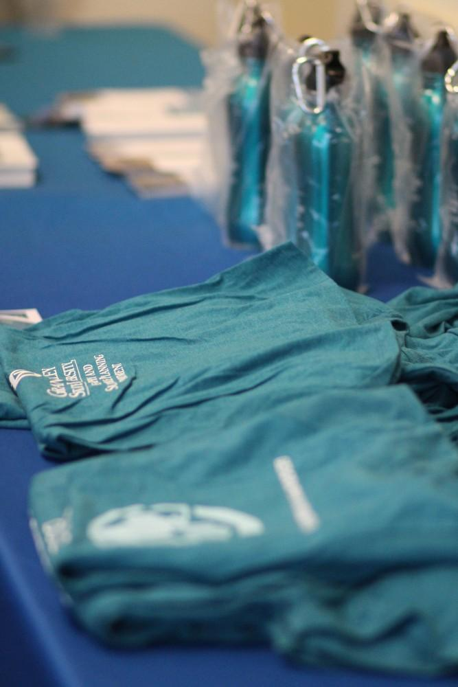 GVL / Sheila BabbittGVSUs Geography and Sustainable Planning Department provided T-shirts and water bottles at the Grand Rapids by Design event on March 27th, 2018.