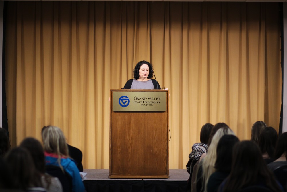 GVL / Sheila BabbittRebecca Traister, author of All the Single Ladies, is introduced at the Community Reading Project Event on March, 13th, 2018.