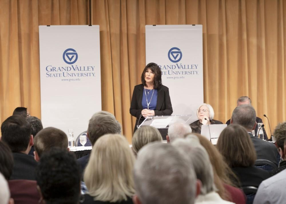<p>Dr. Mantella addresses the crowd at GVSU's Kirkhof Center following her unanimous appointment. Mantella will be the fifth president in school history and the first female president. GVL / Leah Kerr</p>