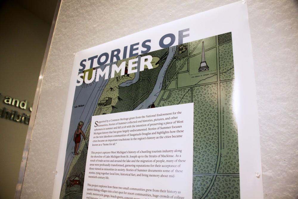 """<p>The """"Stories of Summer"""" exhibition in the exhibation space in Mary Idmea Pew Library at GVSU on display the week of February 10th, 2019. GVL / Emily Modloff</p>"""