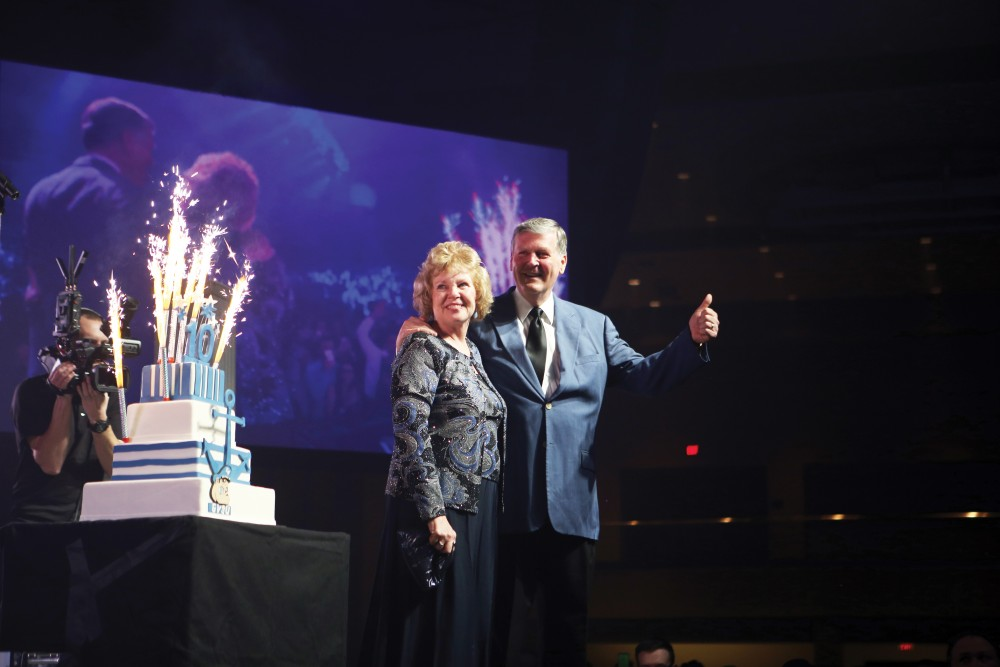 GVL / Emily Frye President Haas and wife Marcia celebrate 10 years of T. Haas during the Presidents Ball on Friday Feb. 5, 2016.