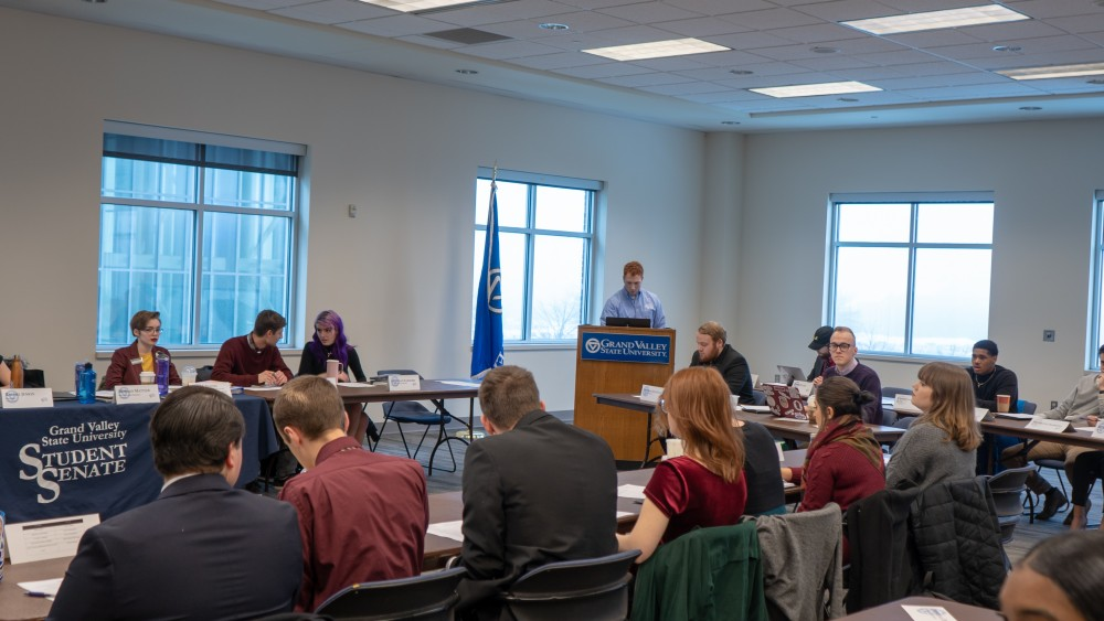 <p>Student Senate. Student Senate Meeting. 4:30 p.m in Kirkhof, Pure Marquette Room. February 7th, 2019. Discussing ways in which to approve the conditions of GV Students in regards to the education system. GVL / Ben Hunt</p>