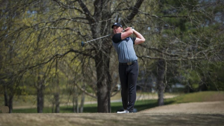 Graduate Michell White follows through on a drive. White has recently decided to stay with Laker golf by taking on a position as a Student Assistant Coach. COURTESY | GREG RUFF