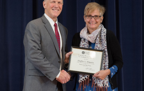 Award recipient Heather Harrington-Minnebo with Graduate Dean Jeffrey Potteiger. Courtesy / Heather Harrington-Minnebo