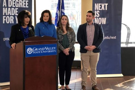 Never too late: GVSU President Mantella and Governor Whitmer announce new online program