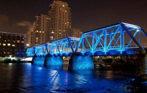 Blue Bridge Downtown GR After Dark // Courtesy to Pinterest