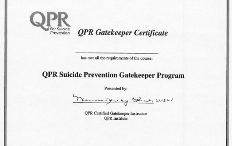 Those who attend and complete sessions are certified as QPR gatekeepers. (GVL / Katherine Arnold).