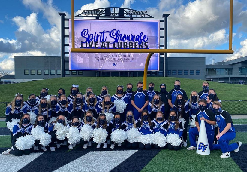 GVSU Cheer joined the Marching Band, Laker Dance Team, and GVSU Pompon for Friday's Spirit Showcase at Lubber's Stadium (Courtesy / GVSU Cheer).