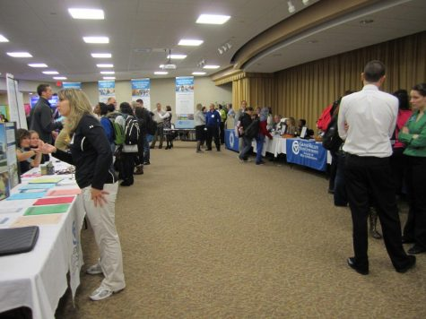 In previous years, fair attendees wandered from booth to booth; this year, they signed up in advance for a series of meetings in their areas of interest. (Courtesy/ CLAS Academic Advising Center)