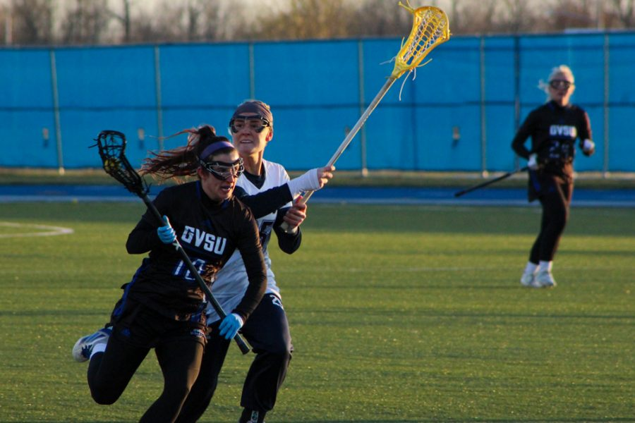 GVL / Annabelle Robinson. GVSU women's lacrosse game on April 1st, 2021 against Concordia-St. Paul