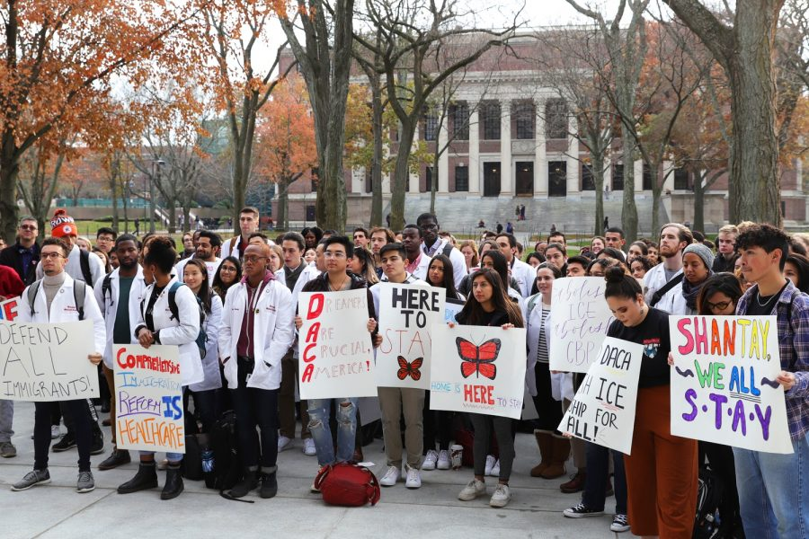 Trump's 2017 decision to end the DACA program led to mass protests across the country, including many universities. (Courtesy Kathryn S. Kuhar via The Harvard Crimson)