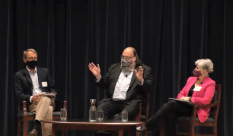 Darren Wahlof, chair of Grand Valleys political science department, left. led the panel discussion between Ethan Zuckerman, center, and Linda Chavez, right. (Courtesy / Hauenstein Center)