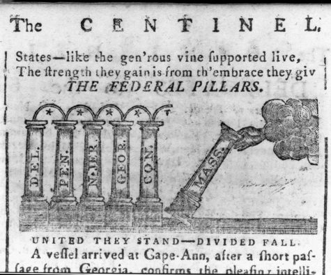 """""""The Federal Pillars"""" drawing, first published in the Massachusetts Centinel, January 16, 1788. (Courtesy / Library of Congress, Prints and Photographs Division)"""